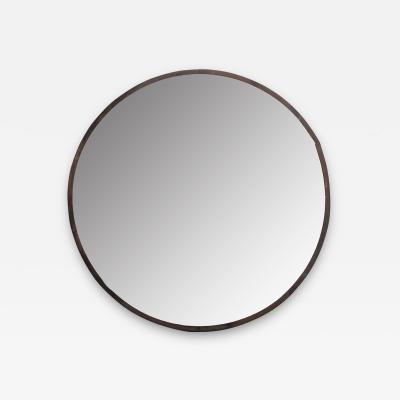 Vintage Large Round Metal Framed Mirror