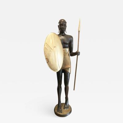 Vintage Life Size Warrior Bronze Sculpture