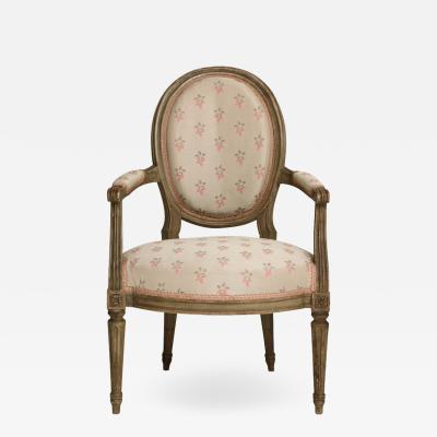 Vintage Louis XVI Style Painted Armchair Fauteil