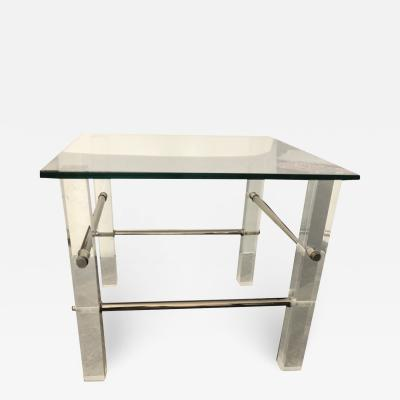 Vintage Lucite and Chrome Side Tables