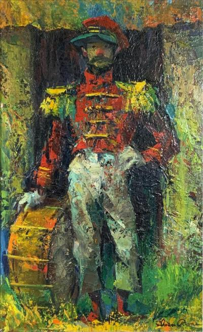 Vintage MCM Iver Rose Oil Painting of a Clown Soldier