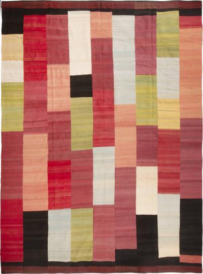 Vintage Magenta and Multicolor Wool Persian Kilim