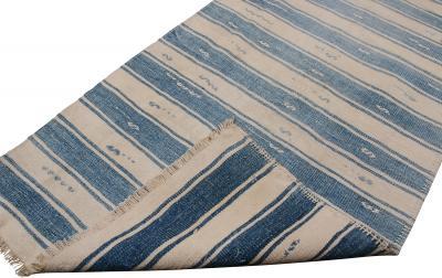 Vintage Malatya Geometric Blue Gray Wool Kilim Runner