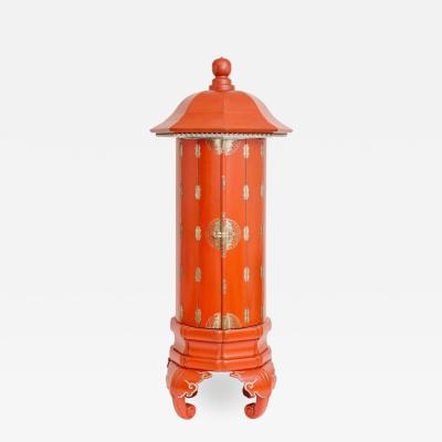 Vintage Mandarin Red Pagoda Display Cabinet