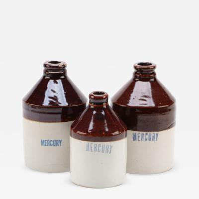 Vintage Mercury Pharmacy Stoneware Jugs Set of 3