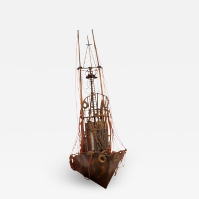 Vintage Metal Tug Boat Sculpture