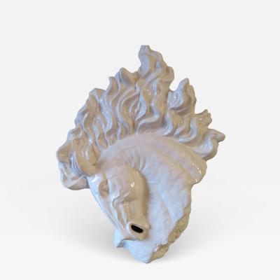 Vintage Mid Century Blanc De Chine White Porcelain Horse Head Bust