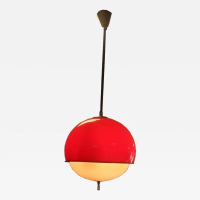Vintage Mid Century Modern Gianelli Red Acrylic Globe Light Pendant