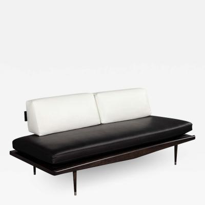 Vintage Mid Century Modern Leather Sofa Daybed