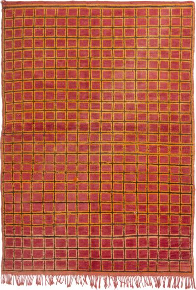 Vintage Mid Century Moroccan Pink and Gold Wool Rug