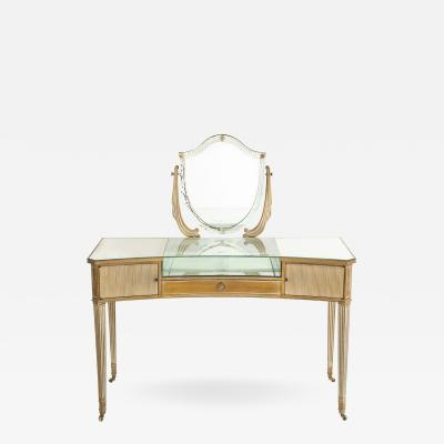 Vintage Mirrored Vanity or Desk with Reeded Tapered Legs