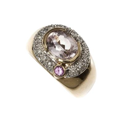 Vintage Morganite Pink Sapphire Diamond 14Kt Gold Ring