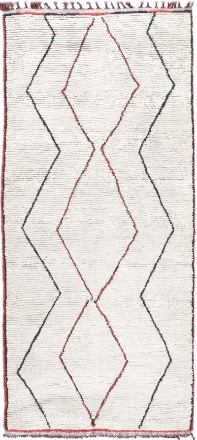 Vintage Moroccan Boujad Hand Knotted Rug in Ivory with Red and Black Accents