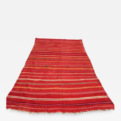 Vintage Moroccan Flat Weave Rug with Stripes