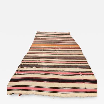 Vintage Moroccan Flat Weave Stripe Tribal Rug