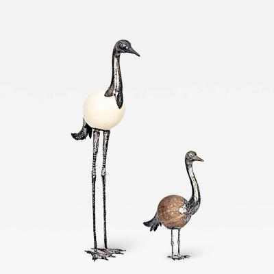 Vintage Mother and Baby Cranes with Egg and Coconut Bodies and Silvered Mounts