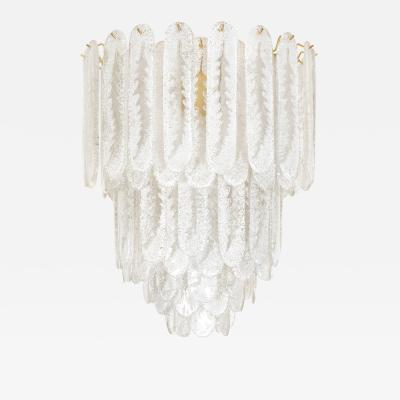 Vintage Murano Frosted Glass Pendant Light AV Mazzega Attribution