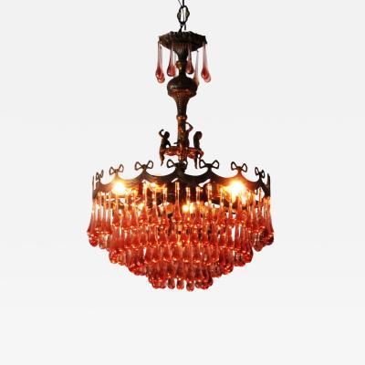 Vintage Murano Glass Droplet Chandelier with Cherubs