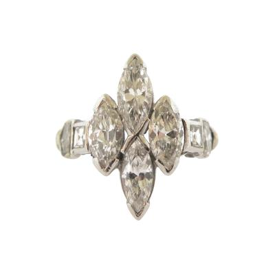 Vintage Navette Marquise Diamond Ring
