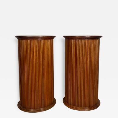 Vintage Neoclassical Fruitwood Reeded Pedestals Circa 1960 A Pair