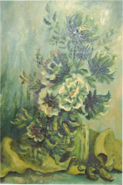 Vintage Oil Painting Still Life Green Floral Mid Century ART on Masonite