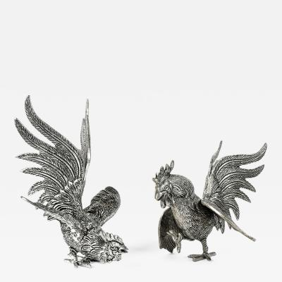Vintage Pair English Silver Plated Roosters Table Decoration