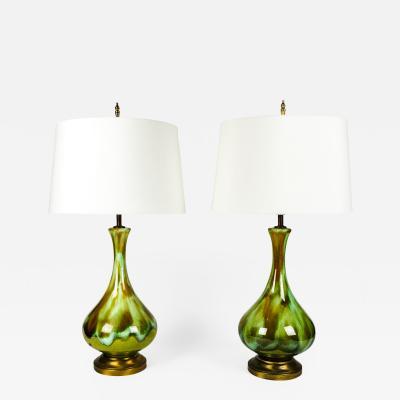 Vintage Pair Glazed Porcelain Task Table Lamps