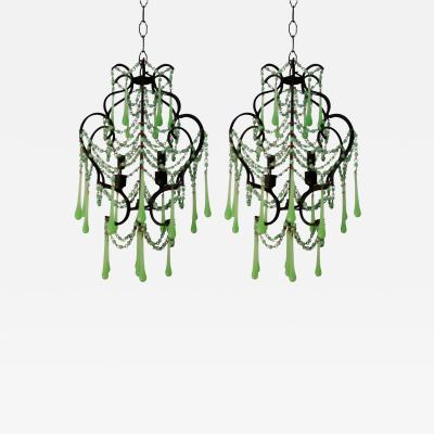 Vintage Pair of French Green Opaline Chandeliers