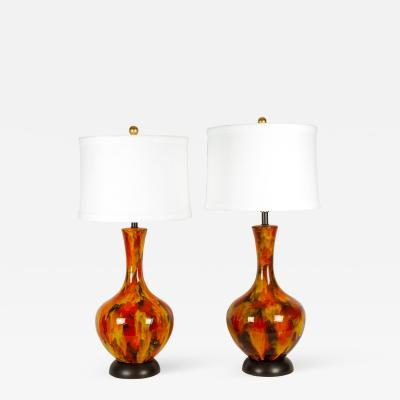 Vintage Pair of Porcelain Table or Task Lamps with Brass Base