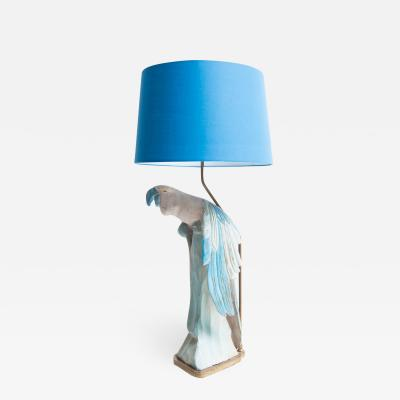 Vintage Parrot Lamp with Shade German c 1950