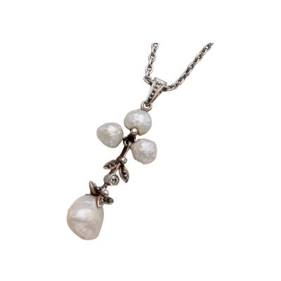 Vintage Pearl and Diamond Platinum and Gold Pendant