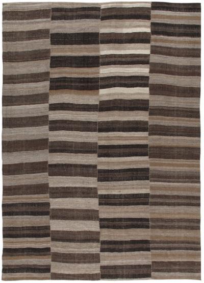 Vintage Persian Mazandaran Handwoven Flatweave Rug in Natural and Brown Color