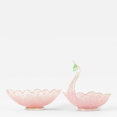Vintage Pink Swan Bowl with Matching Flower Bowl