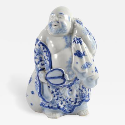 Vintage Porcelain Buddha Holding a Fan