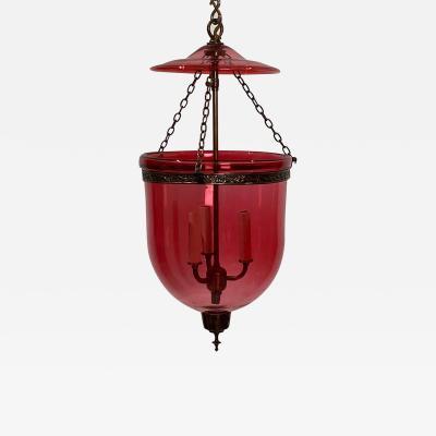 Vintage Red Glass Bell Jar Lantern India Circa 1960