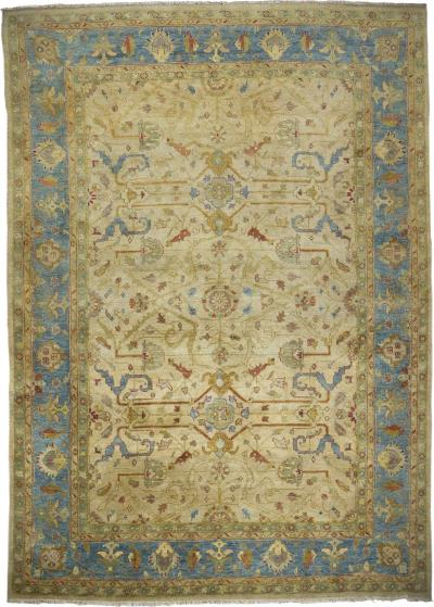 Vintage Room Size Oushak Style Turkish Rug Carpet late 20th century