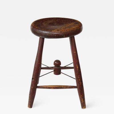 Vintage Rustic Four Legged Maroon Stool