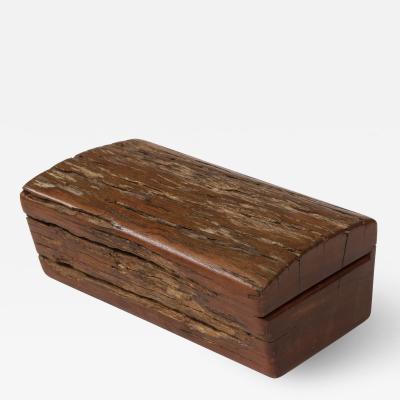 Vintage Rustic Hinge Lidded Wood Box
