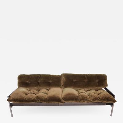 Vintage Safari Sofa Chrome and Oak Frame with Olive Green Velvet upholstery
