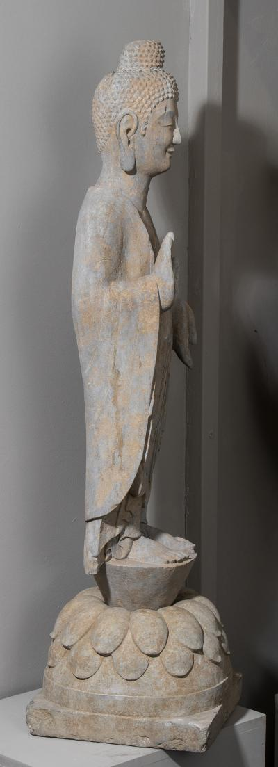 Vintage Sandstone Sculpture of Buddha in the style of the Tang And Wei Dynasties