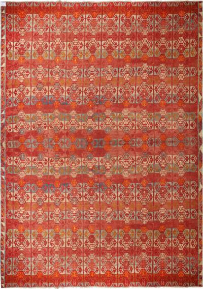 Vintage Sarkisla Red Wool Kilim Rug with Vibrant Accents