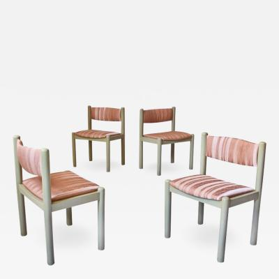 Vintage Set of Four Dining Chairs in Silk and Glazed Oak Sweden 1960s