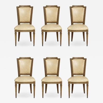Vintage Set of Six Louis XVI Style Painted Dining Room Chairs