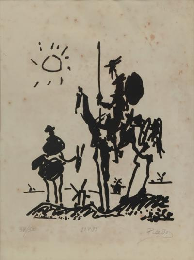 Vintage Signed Lithograph Don Quixote Of Pablo Picasso