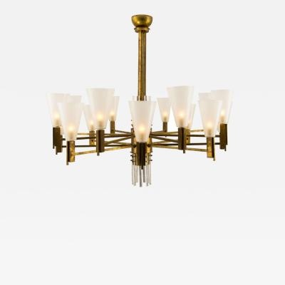 Vintage Stilnovo Style Italian Brass and Glass Chandelier