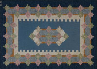Vintage Swedish Flat weave Rug Signed by Ellen Stahlbrand