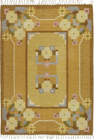Vintage Swedish flat weave rug signed by Ingegerd Silow
