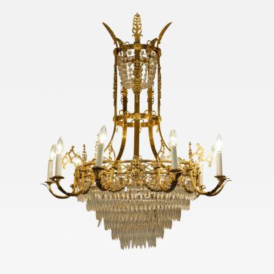 Vintage Ten Arm French Cut Crystal Chandelier