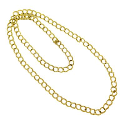 Vintage Textured Curb Link Long Gold Chain