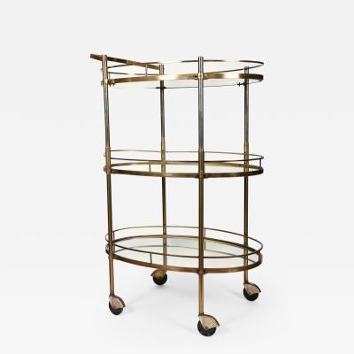 Vintage Three Tiered Mirrored Shelves Wheeled Bar Cart